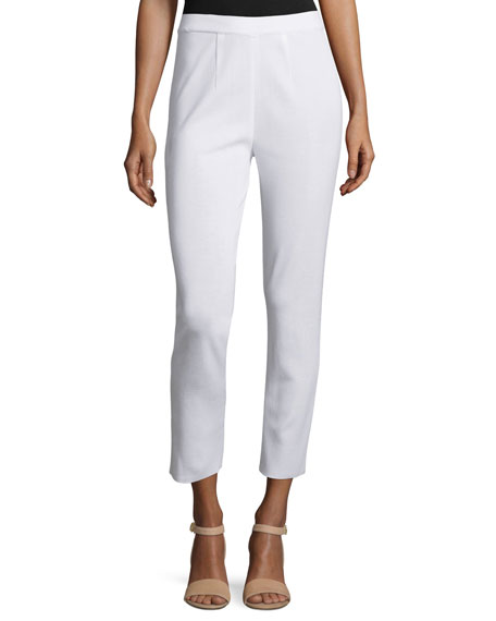 Slim Cropped Ankle Pants, White, Plus Size