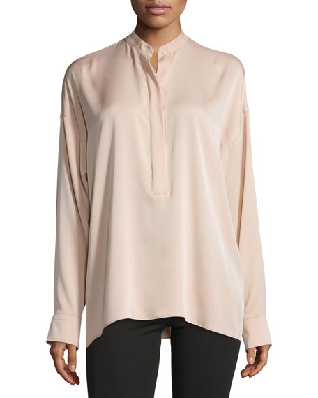 Helmut Lang Tie-Back Stretch Silk Top, Blush