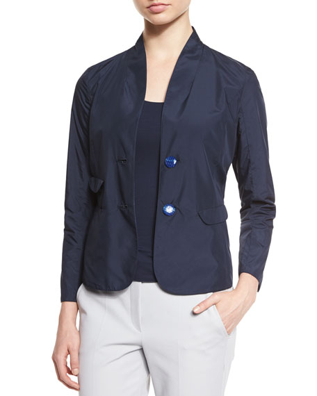 Reversible Long-Sleeve Blazer, Astral Blue
