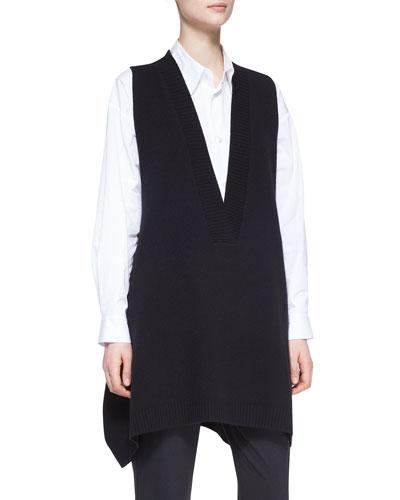 A-Line Sleeveless Deep-V Long Cashmere Sweater  Black