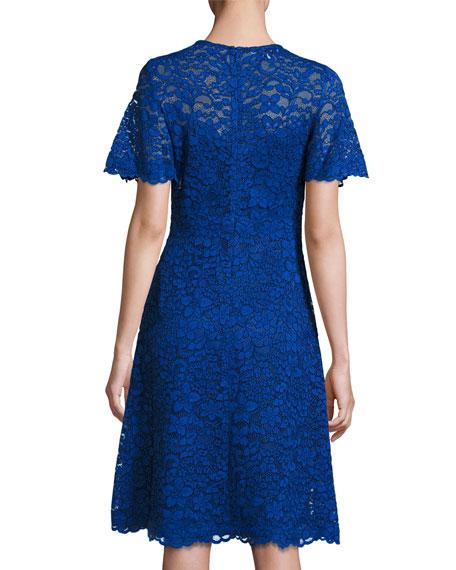 Short-Sleeve Lace A-Line Cocktail Dress, Royal