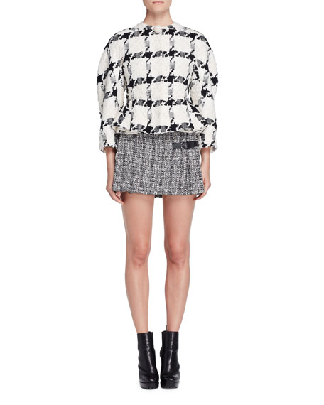Tweed Two-Buckle A-Line Mini Skirt, Black/White/Ivory