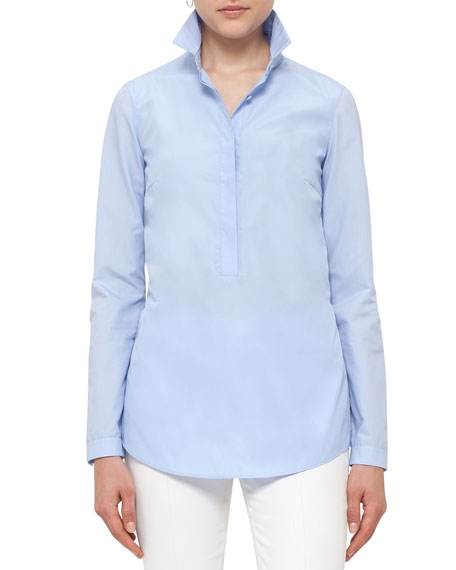 Akris punto Pleated-Back Half-Button Blouse, Light Blue