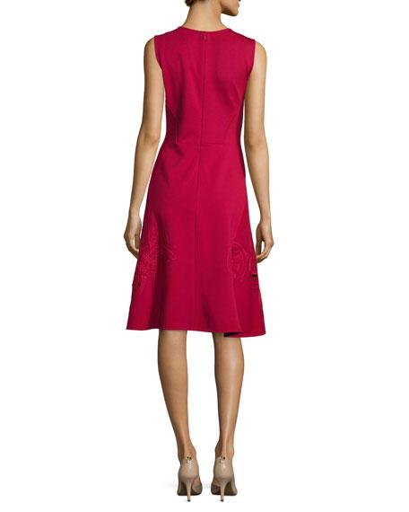 Jewel-Neck Sleeveless Shift Dress, Cerise