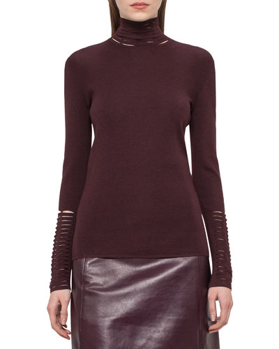 Slash-Detail Turtleneck Sweater, Aubergine