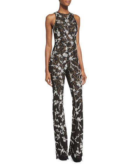 Michael Kors Floral-Lace Flare-Leg Jumpsuit