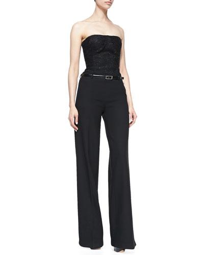 Strapless Jumpsuit with Belt, Black