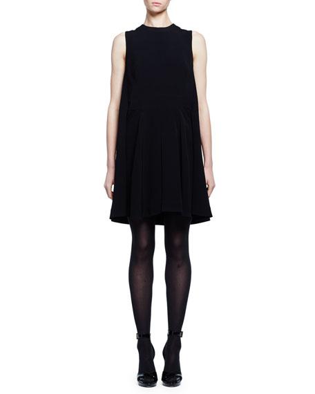 Alexander McQueen Sleeveless Cape-Back Mini Dress, Black