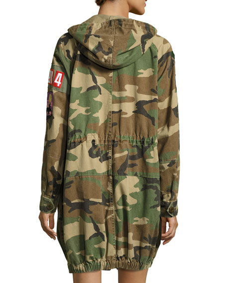Patch-Embellished Camo Anorak Coat