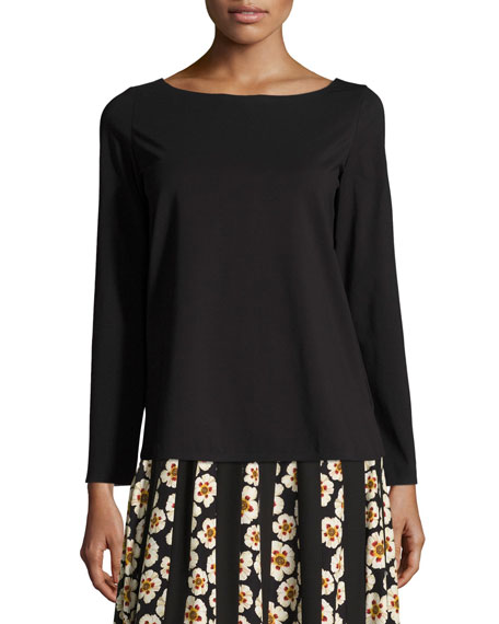 Long-Sleeve Bateau-Neck T-Shirt