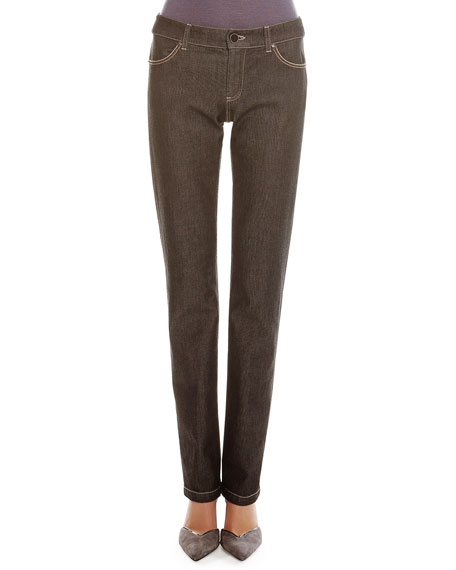 Giorgio Armani Melange Denim Straight-Leg Jeans