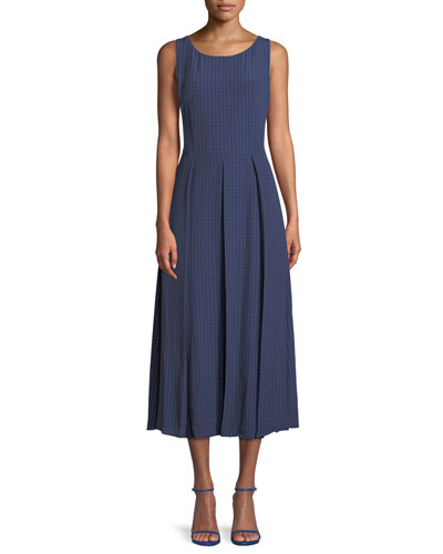 Seersucker Sleeveless Midi Dress, Blue/Multi