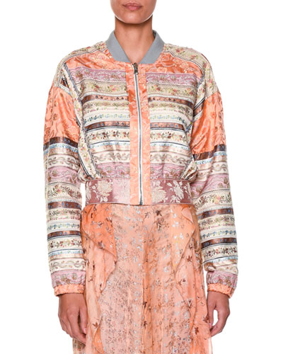 Long-Sleeve Ribbon Bomber Jacket, Peach/Pink/Multi