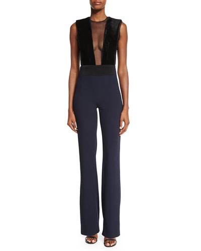 Velvet Illusion-Front Sleeveless Jumpsuit, Black/Midnight