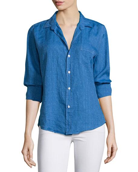 Frank & Eileen Barry Long-Sleeve Dot-Print Shirt, Navy