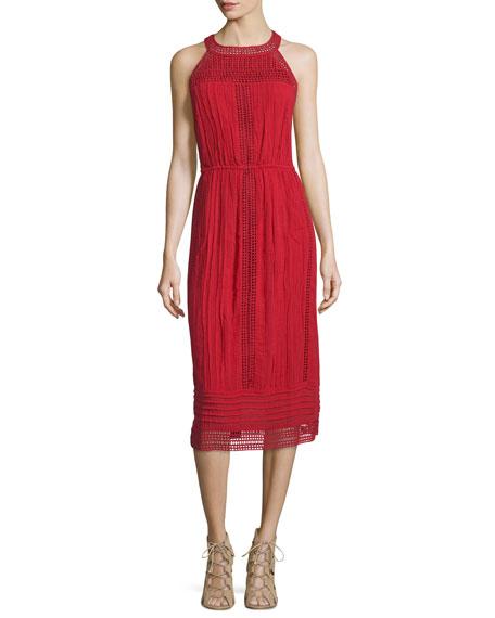 Joie Dance Halter Eyelet Dress, Brick Red