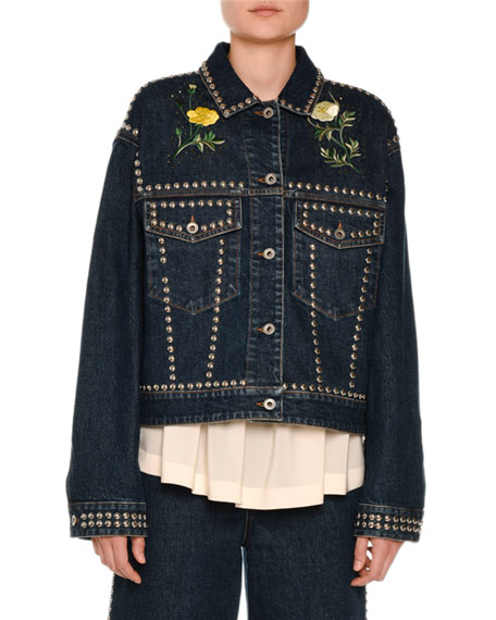Floral-Embroidered Studded Denim Jacket, Blue Notte