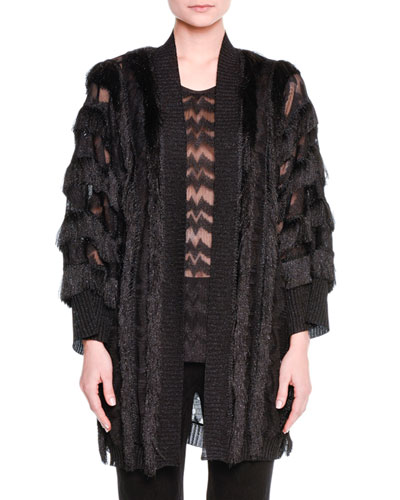 Metallic Fringed Cardigan Sweater, Black