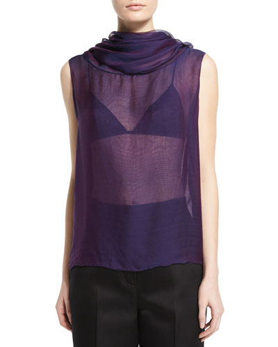 Aurent Cowl-Neck Sleeveless Top