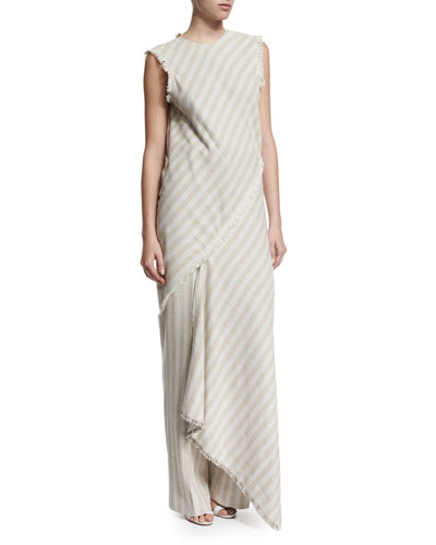 Sleeveless Striped Slash-Back Dress, Natural Stripe