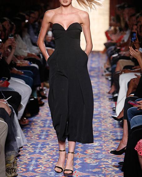 Strapless Wide-Leg Cropped Jumpsuit, Black