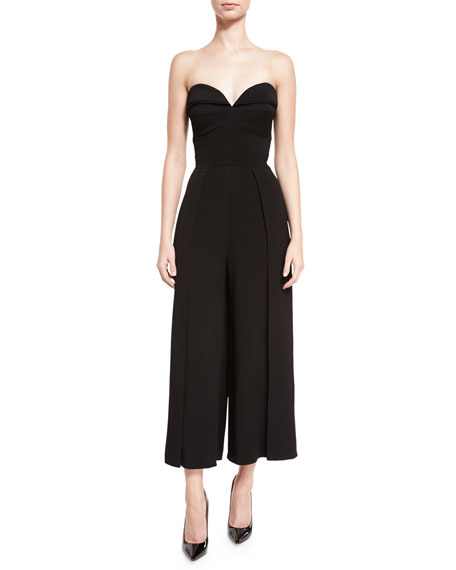 Strapless Wide-Leg Cropped Jumpsuit, Black