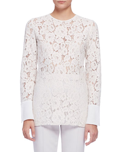 Long-Sleeve Lace Blouse, Ivory