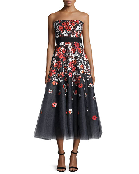 Strapless Poppy Lace Tea-Length Cocktail Dress