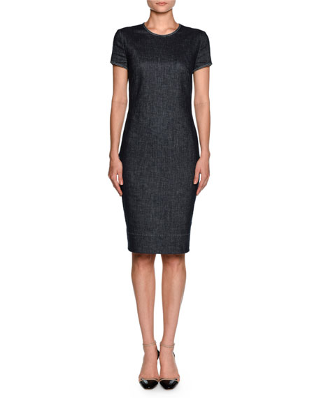 Giorgio Armani Denim Short-Sleeve Crewneck Sheath Dress, Indigo