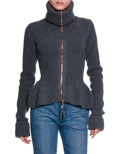 Ribbed Knit Wool Peplum Jacket, Dark Gray Melange