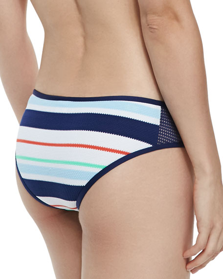 Mesh-Side Striped Swim Bikini Bottom