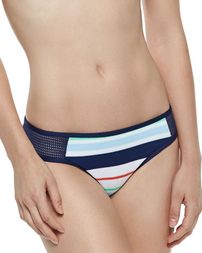 Mesh-Side Striped Swim Bikini Bottom
