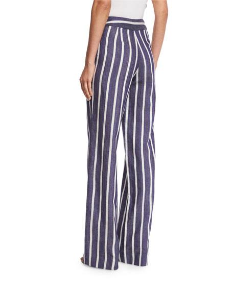 Striped High-Waist Wide-Leg Trousers
