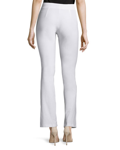 Washable-Crepe Boot-Cut Pants, White