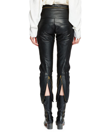 Cropped Leather & Suede Biker Pants, Black