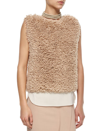 Sleeveless Chubby Cashmere-Blend Pullover