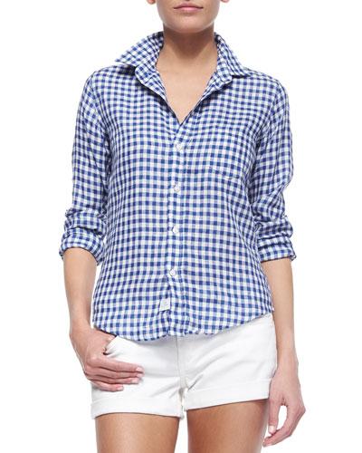 Barry Long-Sleeve Gingham Poplin Shirt, Blue/White