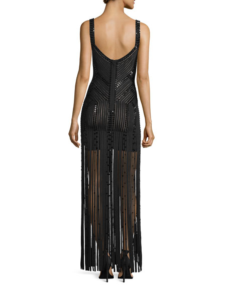 Sleeveless Fringe Embellished Bandage Gown