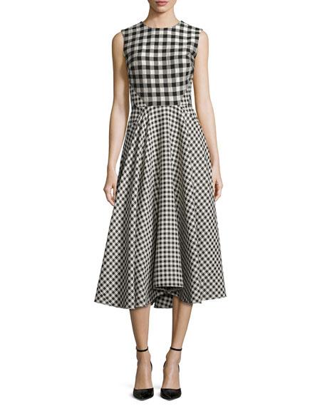 Lela Rose Sleeveless Gingham Paneled Dress