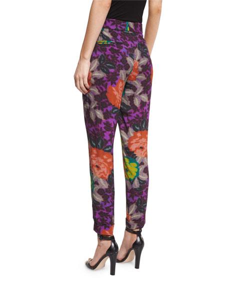 Floral-Print Slim-Leg Ankle Pants, Purple