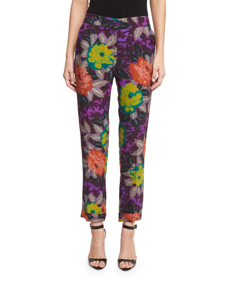 Floral-Print Slim-Leg Ankle Pants, Purple