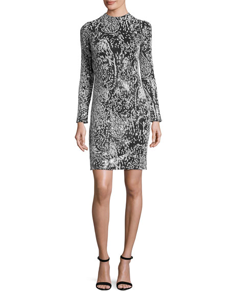 Galvan Flocked-Sequin Long-Sleeve Cocktail Dress, Multicolor