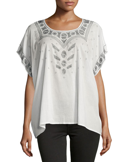 The Beaded Willow Short-Sleeve Tunic, Cream