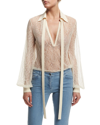 Long-Sleeve Self-Tie Sheer Lace Blouse  Vanilla