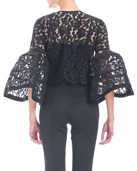 Bell-Sleeve Lace Jacket with Bow, Black