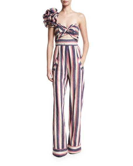 Bahama Striped Floral-Shoulder Jumpsuit