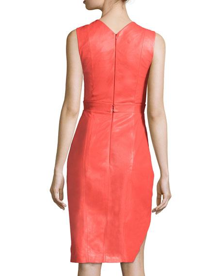Sleeveless Jewel-Neck Sheath Dress, Coral