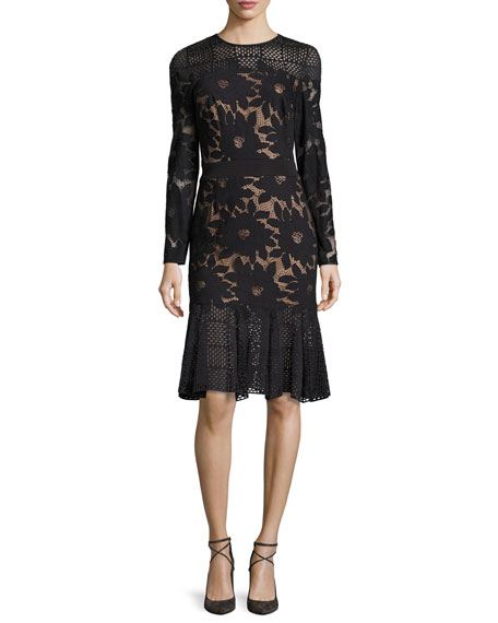 Long-Sleeve Floral Mesh Cocktail Dress, Black/Nude