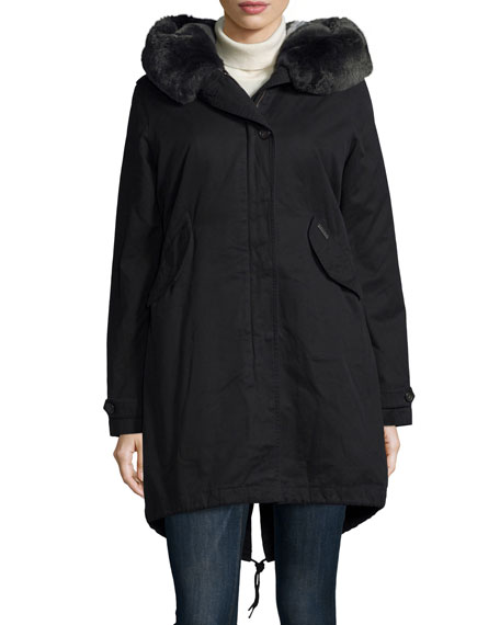 Literary Fur-Trim Cotton Parka Coat, Black