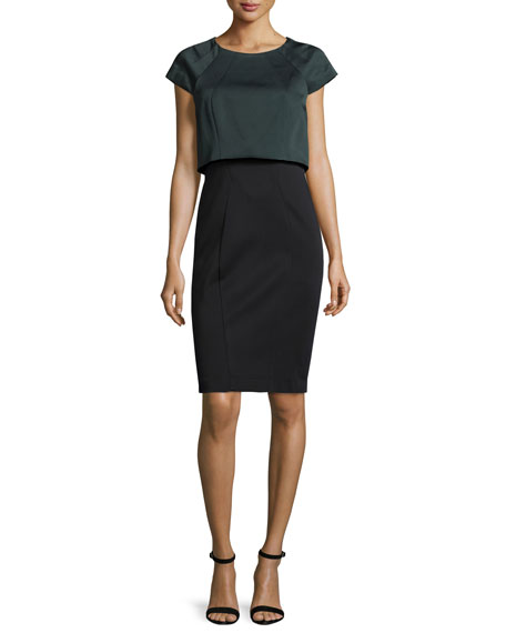 ZAC Zac Posen Nicole Cap-Sleeve Popover Dress, Anthracite/Onyx